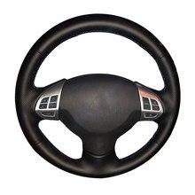 De cuero genuino protector para volante de coche para Mitsubishi Lancer EX Mitsubishi Outlander ASX Colt Pajero Sport/del coche trenza