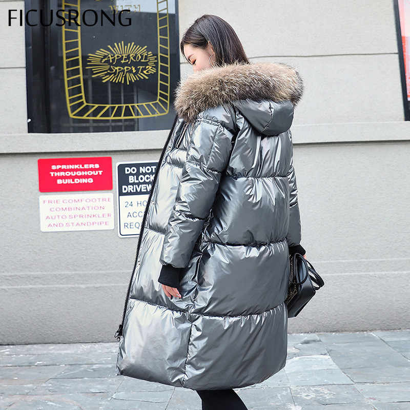FICUSRONG Causal Glossy Silver Down Jackets Winter Women's Long Fur Collar Hooded Coat Parkas Thick Winter Jacket Women Outwear