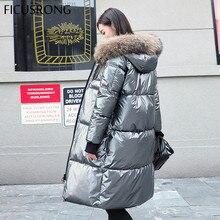 FICUSRONG chaquetas de plumas plateadas brillantes para mujer, abrigo largo con capucha y Cuello de piel para mujer, Parkas gruesas, chaqueta de invierno, prendas de vestir para mujer
