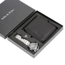 Stainless Steel Men Watch Set PU Leather Zipper Card Holder Purse Quartz Wristwatch Wallet Business Gifts Male