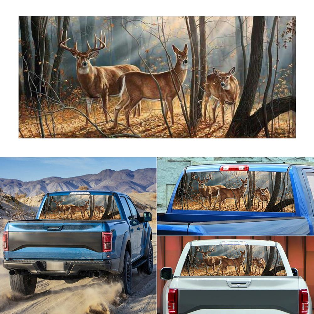 """22/""""x65/"""" Rear Window Graphic Decal Forest Animals Deer Family Sticker for Jeep"""