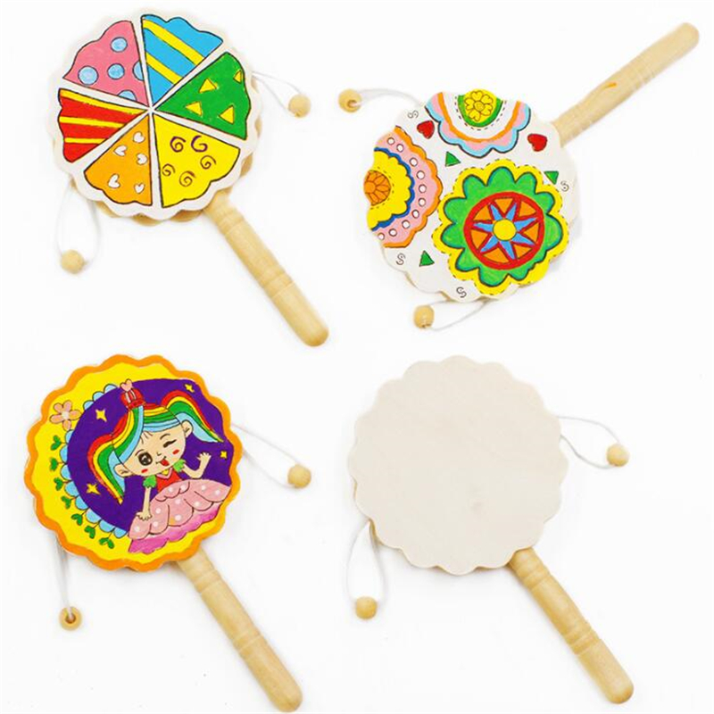 Kids Rattle Drum Wooden Toy Chinese Traditional Rattle Drum Spin Fun Toys Hand Bell Music Toys Baby Stroller Comfort Toy Gift