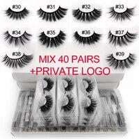 Wholesale mink false eyelashes 20/30/40/50/100 pairs private logo fake lashes natural long makeup lash extension cilios in bulk