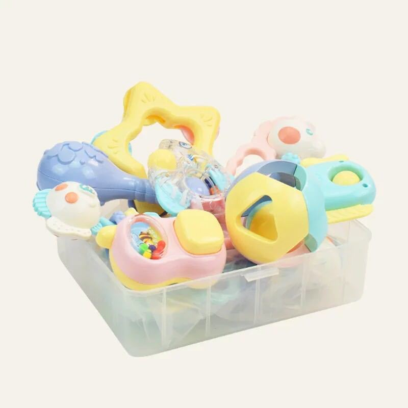 Infant Early Childhood Educational Rattle Teether Set 0-3-12 Crescent Bite Toy Can Be Boiled Tooth Adhesive Tape Storage Box