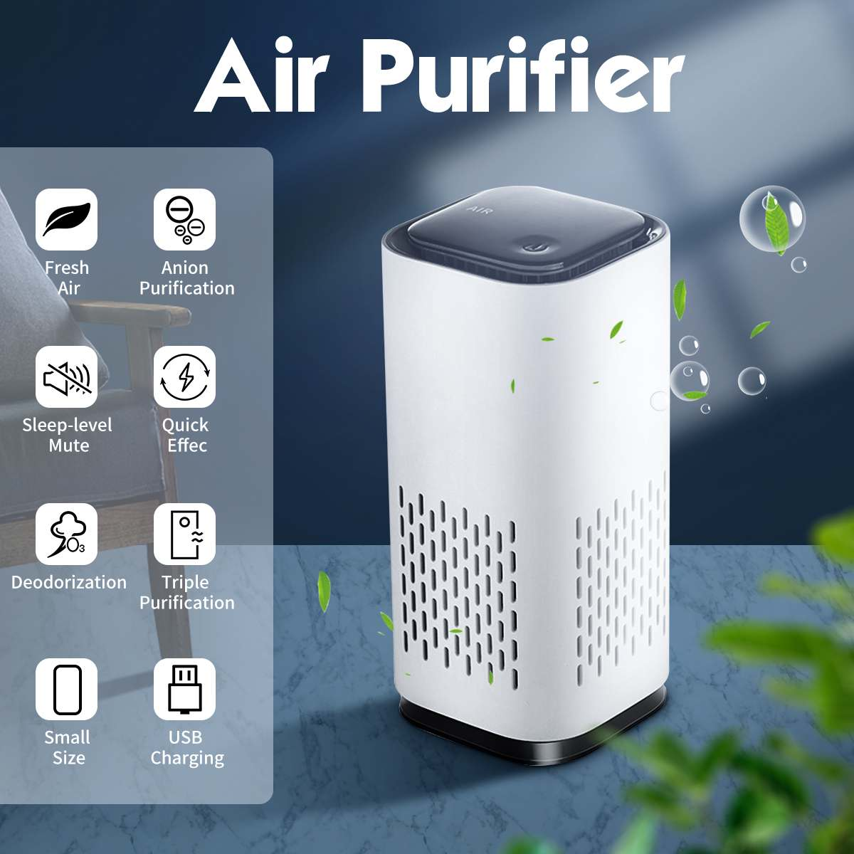 Mini Ozone Generator Deodorizer Air Purifier USB Rechargeable Fridge Purifier Portable Air Space Clear Odor For Office Car Room