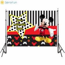 Buy Sensfun Black White Stripes Red Mickey Star Banner Photo Background Custom Child Birthday Party Photo Studio Backdrops Banner directly from merchant!