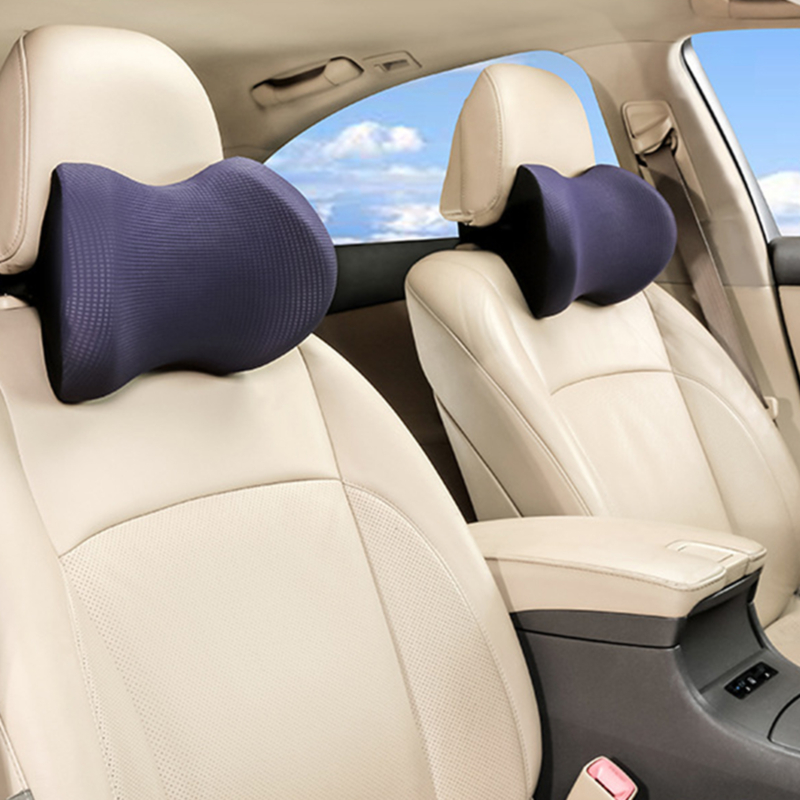 1PC Car Headrest Neck Pillow for seat chair in auto Memory Foam cotton mesh cushion Fabric Cover soft Head rest travel support
