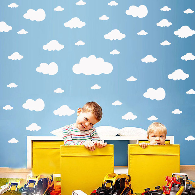 68pcs/set Mixed Size 2.5-25cm Cartoon Clouds Wall Stickers For Kids Baby Rooms Home Decor Art Mural Peel And Stick PVC Wallpaper