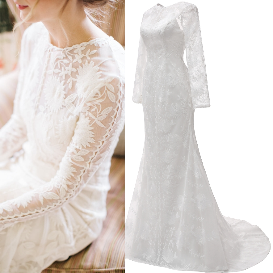 Soft Lace Simple Long Sleeve Real Price Bridal Gown Wedding Dress Plus Size Factory Sample Photo