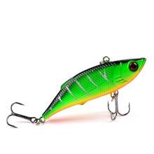 YUZI 1Pcs VIB Fishing Lures 75mm 10g vivid Vibrations Spoon Lure bait Bass Pesca Artificial Hard Bait Cicada 3D Eyes