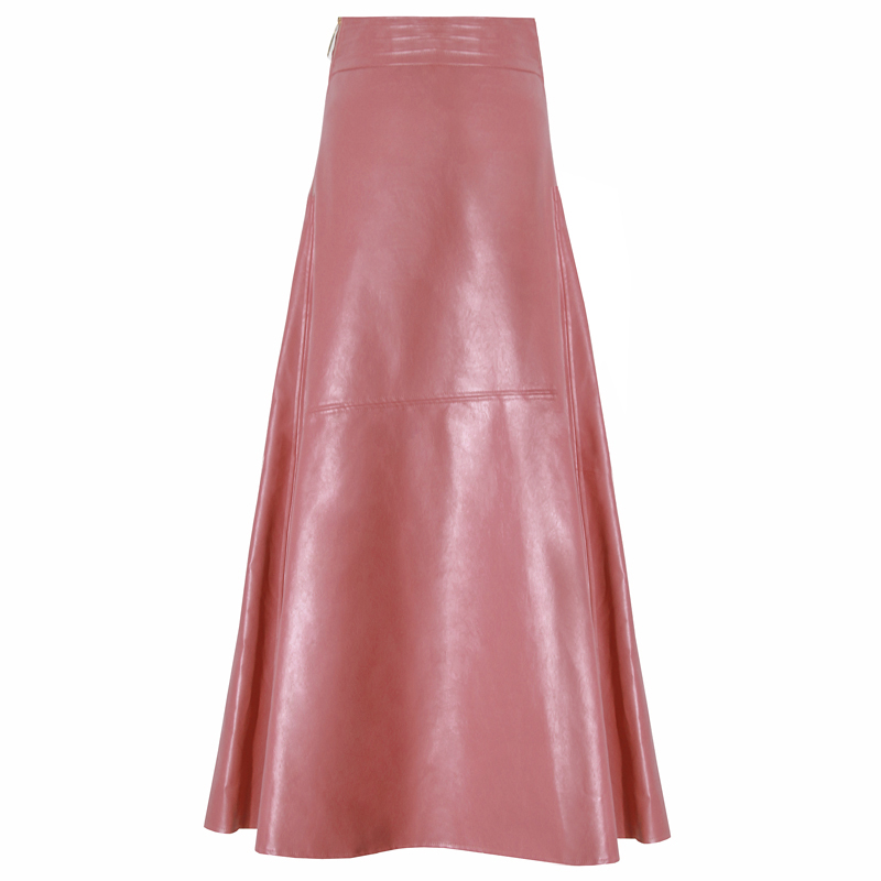 Image 5 - Ladies Elegant Office Pink Leather Skirt 2019 High Waist Autumn  Winter Female Pu Long Skirt Fashion European Station A LineSkirts   -