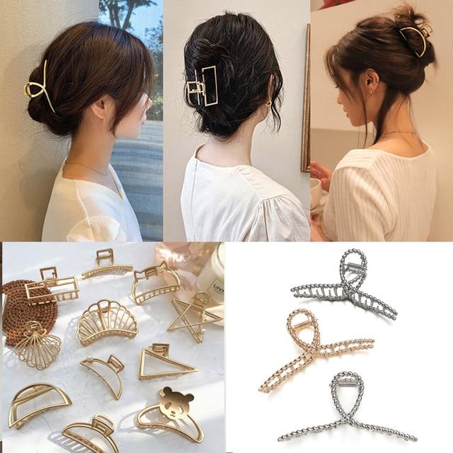 Women Metal Hair Claws Hair Accessories Fashion Barrettes Clips Jewelry Simple Geometric Hollow Hairpins Girls Hairgrip Headwear 1