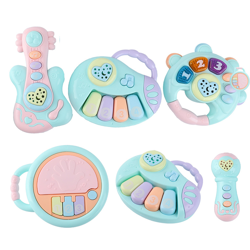 Baby Music Hand Clap Drum Light Projection Clap Drum Baby Puzzle Early Education Microphone Piano Guitar Rattle Appease Toy Gift