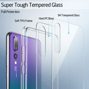 Image 2 - ESR Crystal Tempered Glass Phone Case For Huawei P20 Full Back Cover For Huawei P20 Pro TPU Soft Edge Silicone Glass Cases Coque
