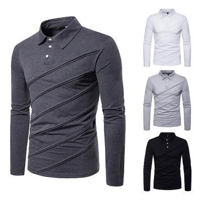 Men's polo shirt autumn and winter new fashion european size men's casual polo shirt stitching men's undershirt P045 1