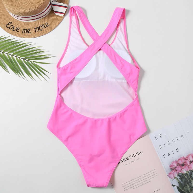 Biquíni sensual rosa de uma peça, moda praia, feminino, monokini, verão, bonito, esportivo, com costas cruzadas, 2020