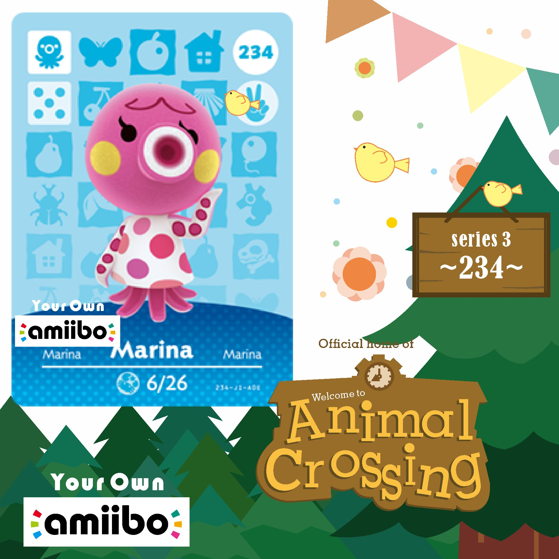 Amiibo 234 Animal Crossing Octopus Animal Crossing Amiibo Card Marina Welcome Amiibo New Horizon Villager Card 234 Series 3