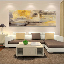 Abstract golden yellow oil painting on canvas posters and print