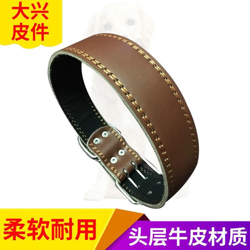 Simple Double-Line Genuine Leather Pet Collar Pet Collar Traction Rope Dog Traction Bandana Collar