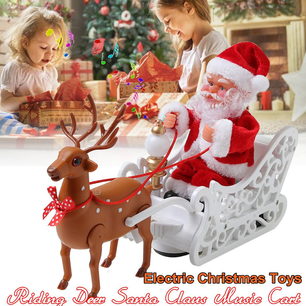 Electric Santa Claus Toys Merry Christmas Music Deer Cart Dolls Without Battery Children Doll Kids Gift Funny Toy