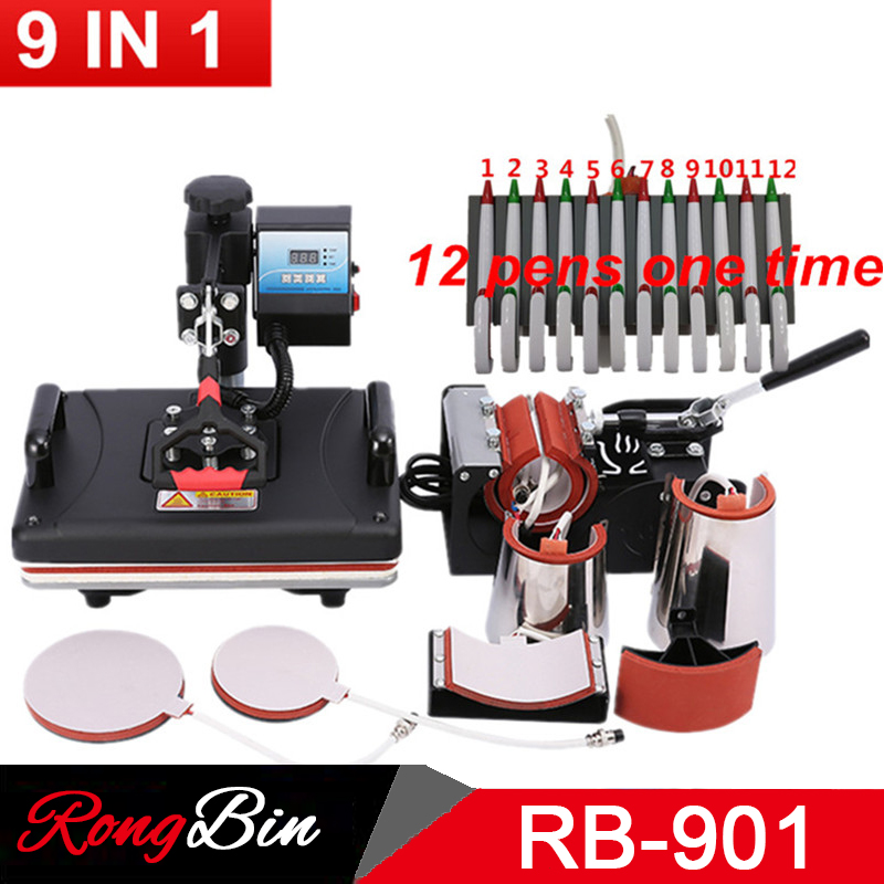 Multifunctional 30*38CM Combo Heat Press Machine Sublimation Printer 2D Heat Transfer Machine For Pen Cap Mug Plate Tshirts