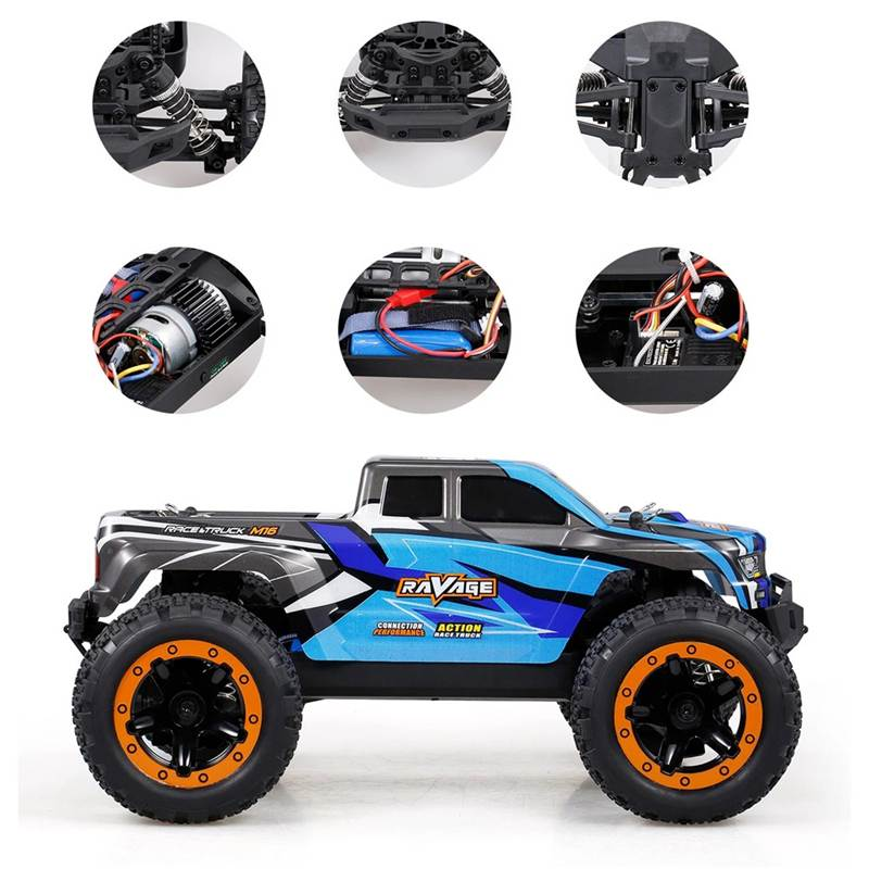 HBX RC Car 16889A Brushed 1/16 2.4G 4WD 30km/h Truck Model With LED Light Electric Off-Road Crawler RTR Control Model Cars Toys