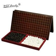 BSTFAMLY Go échecs 19 route 361 pièces/ensemble Chessman diamètre 2.2cm bois échiquier pliable et bocal chinois vieux jeu de Go Weiqi G16