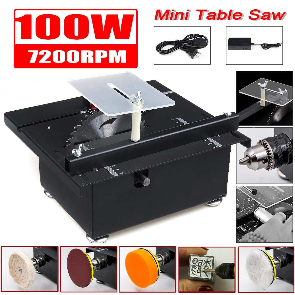 7200rpm Mini Table Saw with Power Supply Handmade Woodworking Benchs DIY Cutting Polish Engraving Tool Mini Circular Saw
