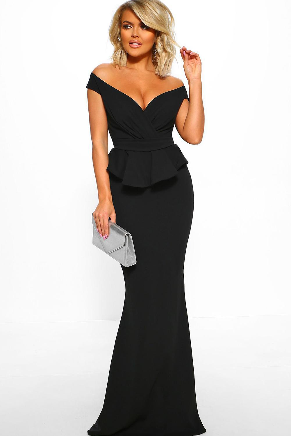 <font><b>Black</b></font> Cross Over Peplum Maxi <font><b>Dress</b></font> <font><b>Women</b></font> <font><b>Sexy</b></font> V Neck Off Shoulder <font><b>Long</b></font> <font><b>Bodycon</b></font> Elegant Party Floor Length <font><b>Dresses</b></font> Plus Size XL image