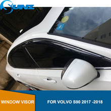 Side window deflectors For VOLVO S90 2017 2018  Window Air Vent Visor Sun Shade Awnings Shelters Guards car styling SUNZ