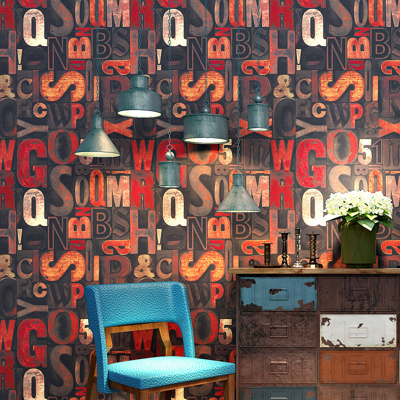 Vintage Industrial-Style Wallpaper Nostalgic American-Style Internet Cafes Graffiti Loft English Lettered Cool Fashion Wall Wall