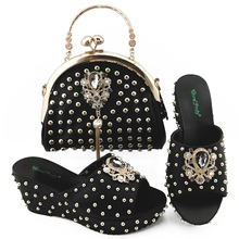 Bag-Set Party-Shoes Wedding Black-Color Fashion And To Match Newest Italian