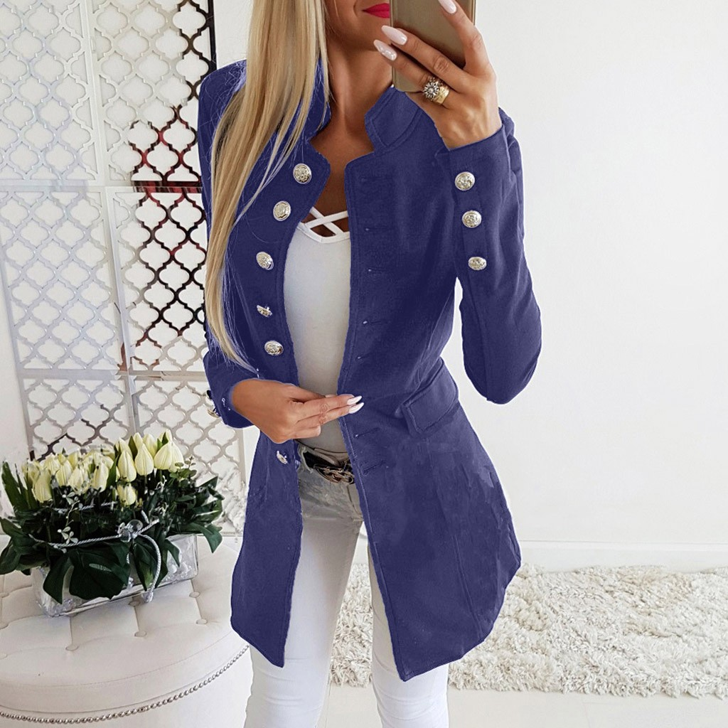 Long Blazers Women Sliver Buttons Stand Collar Long Sleeve Blazer Ladies Office Suit Coat Veste Longue Femme Women Black Blazer