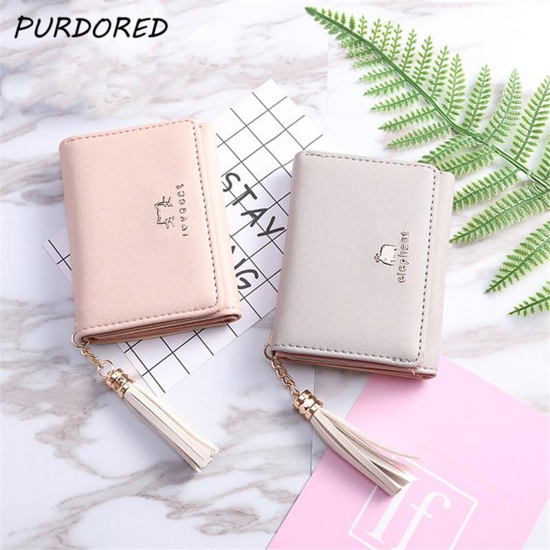 PURDORED 1 Pc Cute Women Wallet Leather Card Holder Mini Short Tassel Small  Wallet Coin Purse Female Ladies Card Case Tarjetero