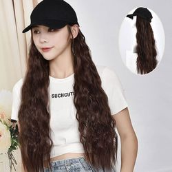 Women Long Curly Synthetic Hair with Hat Big Wave Baseball Cap Wig 40JF