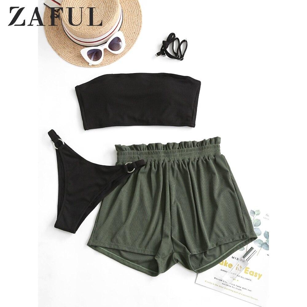 ZAFUL Ribbed Lace-Up Bandeau Three Piece Swimsuit Spaghetti Straps O-Ring Strapless Bikini Removable Padded High Cut Bikini Sets