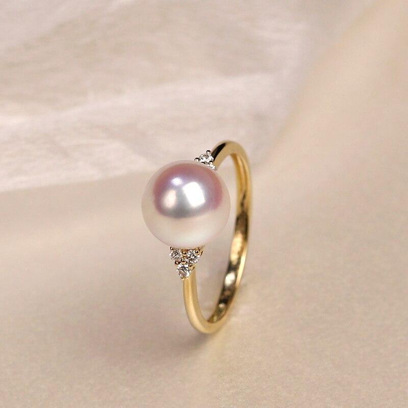 Importazione di gioielli in oro giallo massiccio 18 carati (AU750) donna singolo grano Akoya piselli tessitura anello di diamanti perla di acqua di mare naturale signora