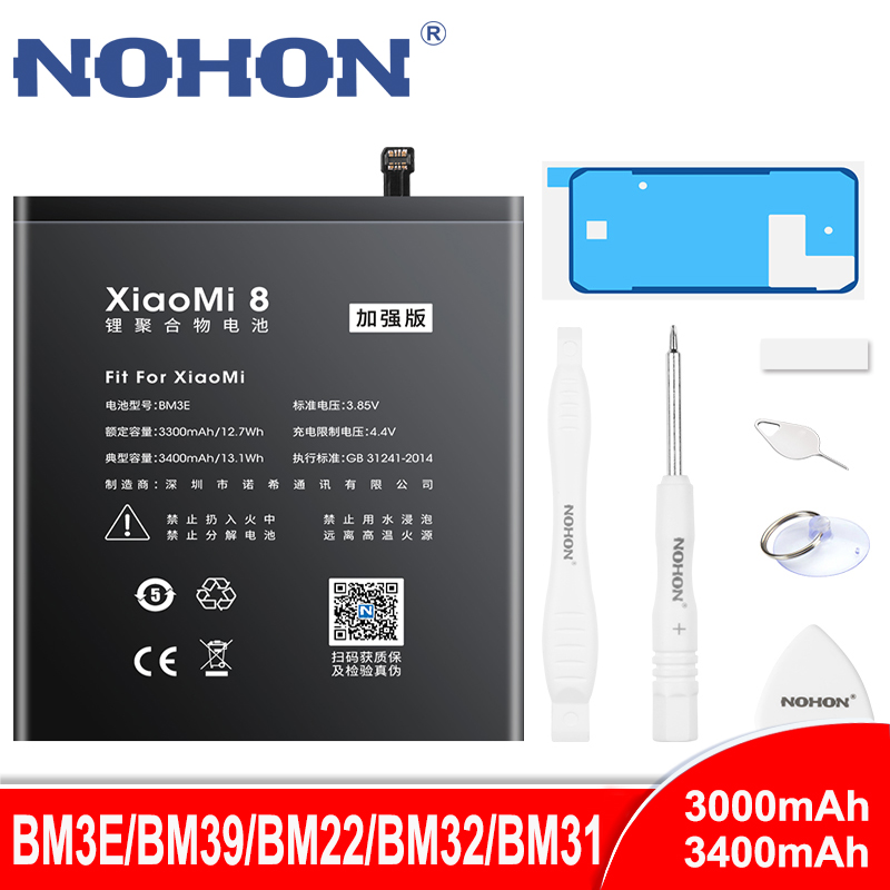 NOHON BM3E BM39 BM22 BM32 BM31 <font><b>Battery</b></font> For Xiaomi <font><b>Mi</b></font> 8 6 <font><b>5</b></font> 4 3 Mi8 Mi6 Mi5 Mi4 Mi3 Lithium Polymer Phone Replacement <font><b>Batteries</b></font> image