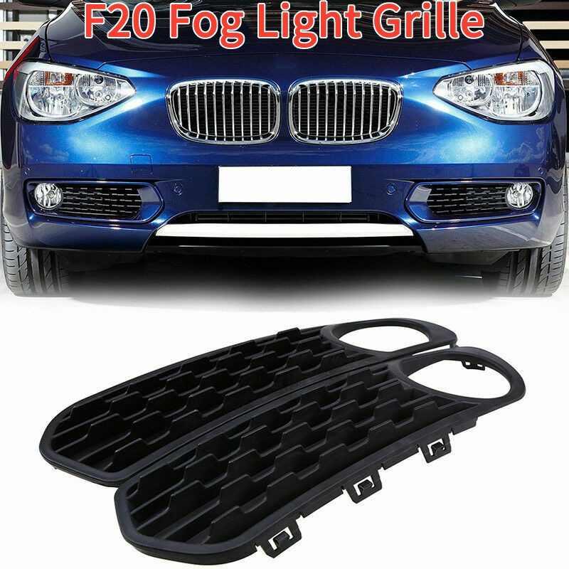2Pcs Front Bumper Fog Light Covers Fog Lamp Grilles with Hole for BMW F20 F21 116I 118I 120I 2011-2013 Black