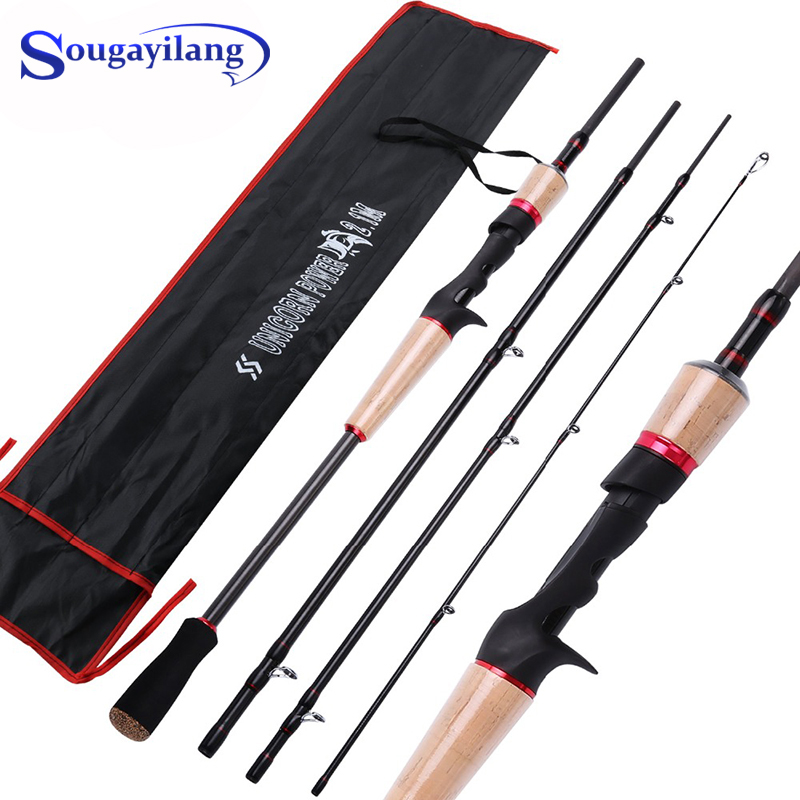 Sougayilang Spinning Casting Carbon Fishing Rod 2.1M 2.4M M Power 4 Sections Ultra Light Portable Travel Fishing Rods Pesca
