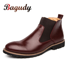 Autumn Winter Genuine Leather Ankle Chelsea Boots Men Shoes Vintage Classic Male Casual Motorcycle Boot Elegant Footwear for Man