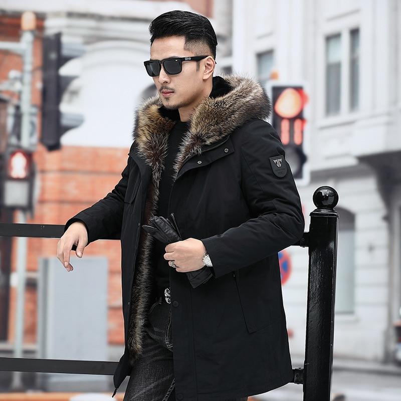 2020 New Mens Parka Real Fur Coat Men Winter Jacket Rabbit Fur Liner Warm Raccoon Fur Collar Parkas De Hombre 9216 J3120