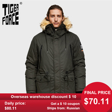 TIGER FORCE Men Parka Hooded Winter Jacket for Men Artificial Fur Coll
