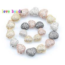 3 pçs/lote CZ Spacer Beads Amor Do Coração de Bronze Micro Pave Cubic Zirconia Beads para Encantos Pulseira DIY Jewelry Making Acessórios