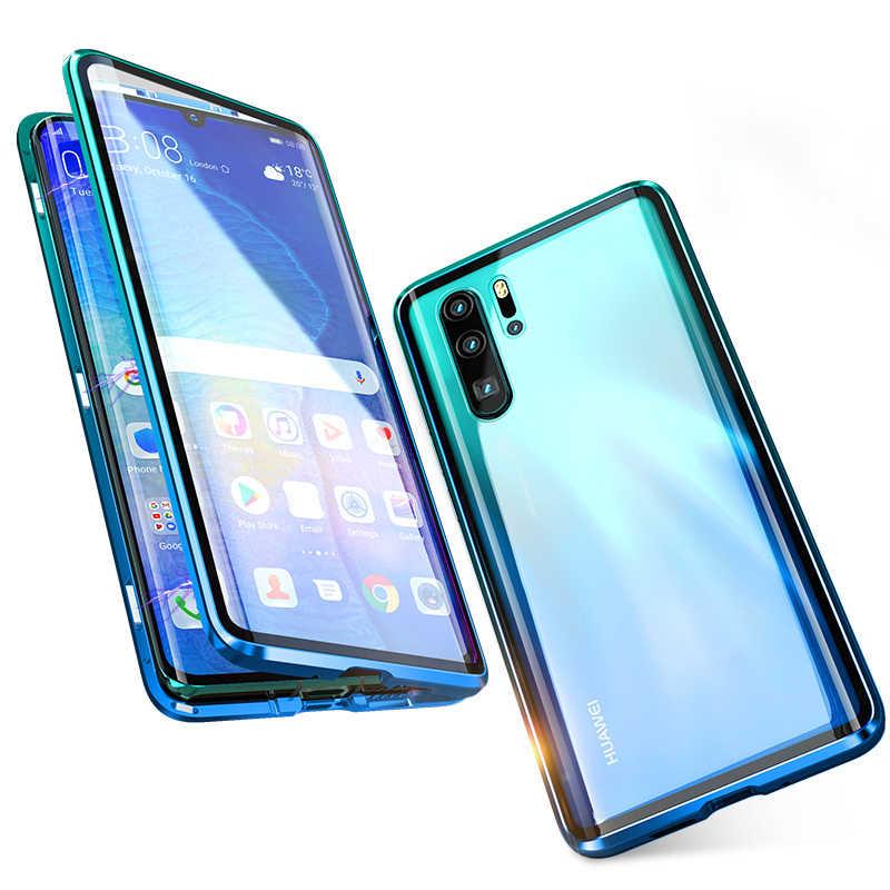 Funda protectora transparente de cuerpo completo 360 para Huawei P30 Pro carcasa magnética de Metal de aluminio cubierta de imán de parachoques Huawei P30 Pro caso