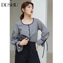 Женская клетчатая блузка dushu элегантная рубашка с расклешенным