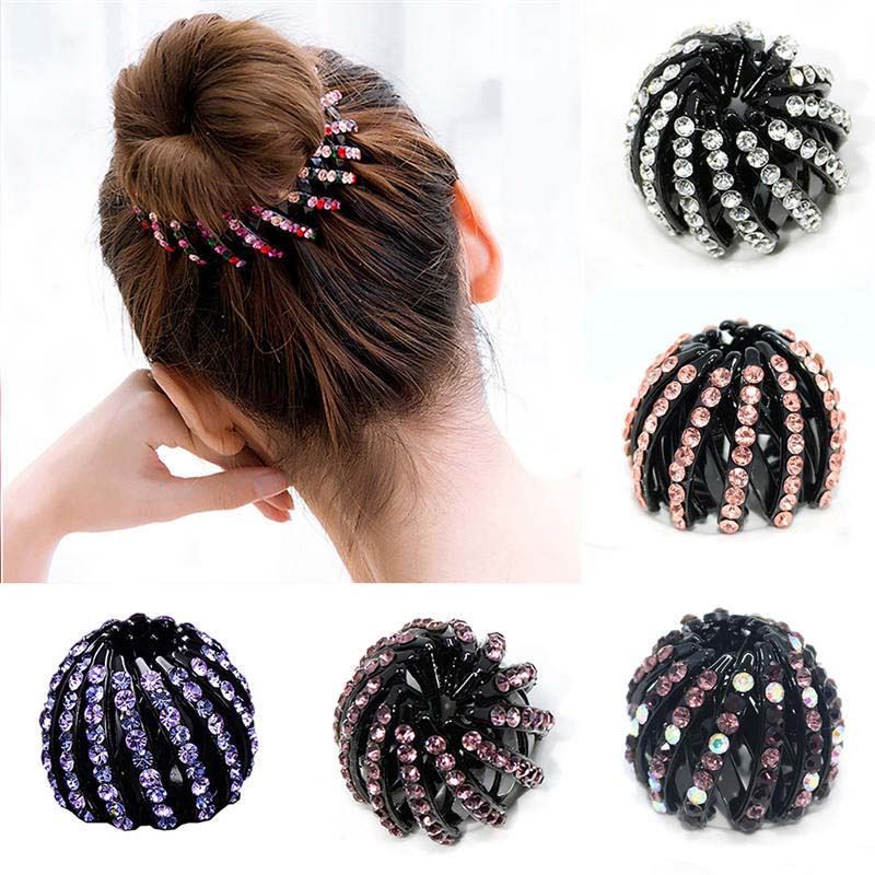 Hair Claw Headwear Ponytail-Holder Ball-Head Crystal Rhinestones Women Girls