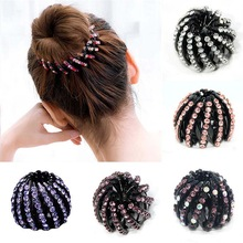 Hair Claw Headwear Ponytail-Holder Crystal Rhinestones Ball-Head Girls Women