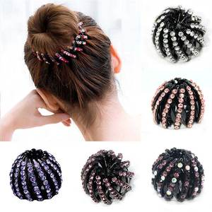 Hair Claw Headwear Ponytail-Holder Ball-Head Crystal Rhinestones Girls Women