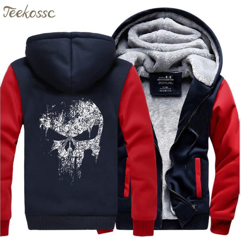 Image 3 - Super Hero  Skull Sweatshirts Men 2018 New Winter Fleece Print Thick Hoodies Jacket Hoddie Streetwear Hip Hop Male-in Hoodies & Sweatshirts from Men's Clothing